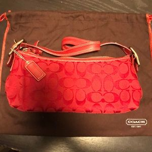 Authentic Coach Canvas Small Purse Red